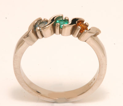 3 Stone S bar Mothers Ring*