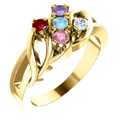 Wave Mothers Ring with Five Fine Natural Birthstones*