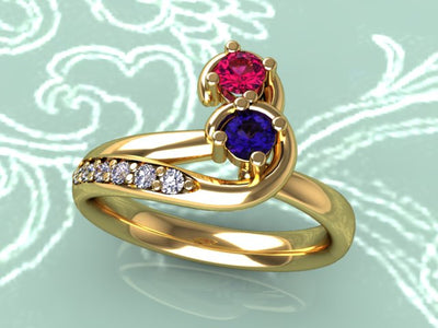 Curled Two Birthstone Mother Ring with Diamond*