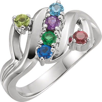 Wide Six Birthstone Mothers Ring*