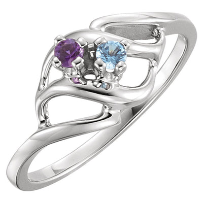 Silver Wave Mothers Ring with 2  Birthstones*