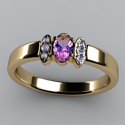 Christopher Michael Designed One Stone Oval Mothers Ring with Diamond*
