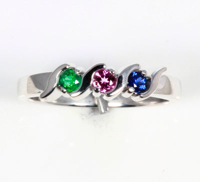 Sterling Silver 3 Stone S bar Mothers Ring*