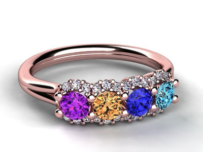 Mother's Ring With Fine Diamond and Four Natural Birthstones*