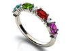 4 Birthstone Christopher Michael Designed Ring With Oval Birthstones Set East to West* - MothersFamilyRings.com