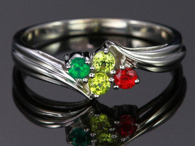 4 Birthstone Fluted Bypass Shank Mothers Ring*