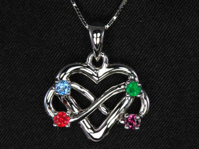 4 Stone Infinity Mother's Pendant Christopher Michael Design - mothers family rings