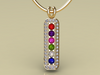 6 Birthstone Mothers Pendant with Diamonds Around by Christopher Michael