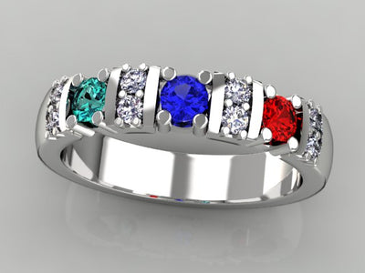 Our Most Popular Mothers ring  with Three Larger 3.5 mm Gems by Christopher Michael*
