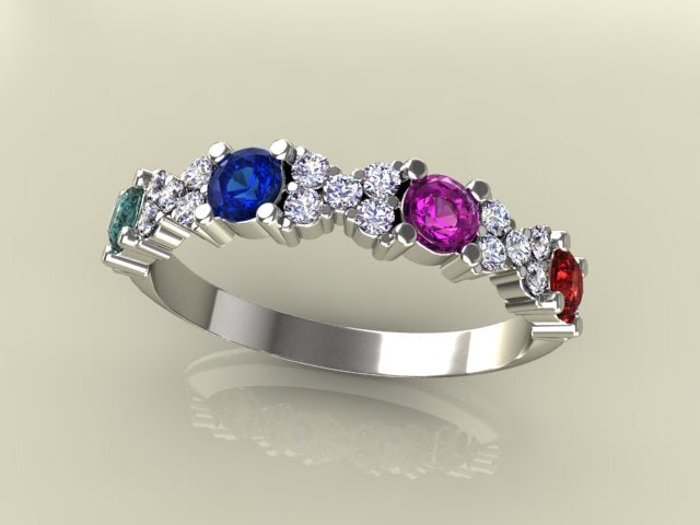 4 birthstone mothers ring with 28 carats of fine diamonds. Black Bedroom Furniture Sets. Home Design Ideas