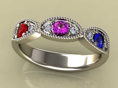 Classy 3 Birthstone Mothers Ring by Christopher Michael with Fine Cut Diamonds*