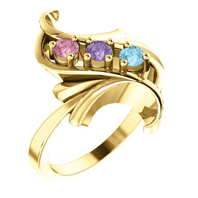 Bold 3 Birthstone Mothers Ring*