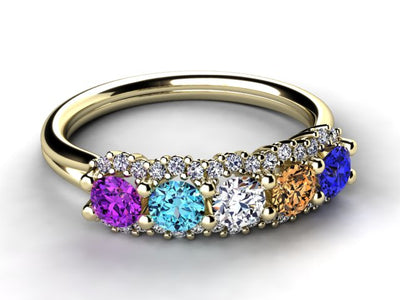 Mother's Ring With Fine Diamond and 5 Natural Birthstones*  designed by Christopher Michael