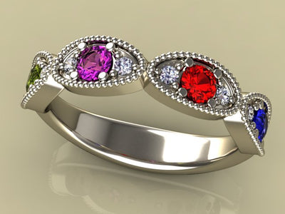 Classy 4 Birthstone Mothers Ring by Christopher Michael with Fine Cut Diamonds*