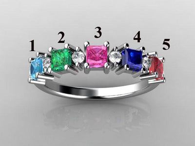 Christopher Michael Designed Five Princess Cut Birthstone Mothers Ring With Fine Diamonds*