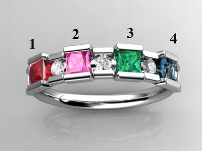 4 Birthstone Princess Mothers Ring by Christopher Michael with Diamond Accent*