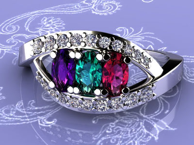Three Stone Oval Mothers Ring by Christopher Michael with Diamonds*