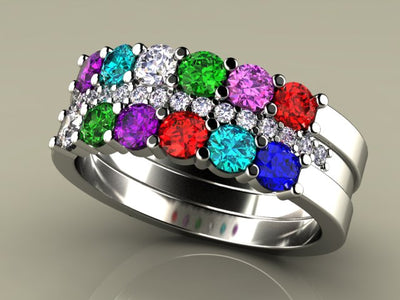 12 Stone Mothers Ring with Diamonds*