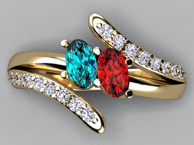 Two Oval Birthstone Mothers Ring with Fine Diamonds by Christoper Michael*