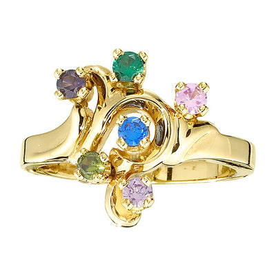 Freeform Mothers Ring with Six 2.5 mm Natural Birthstones*