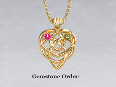 Celtic Mothers Birthstone Pendant 2 Stone*
