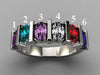 Six Stone Oval Mothers Ring with Bars* designed by Christopher Michael