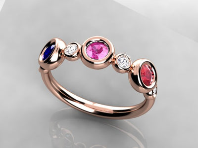 Bezeled Larger Round Three Birthstone Mothers Ring With Fine Diamonds* Designed by Christopher Michael