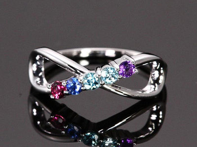 5 Stone Infinity Mothers Ring - mothers family rings