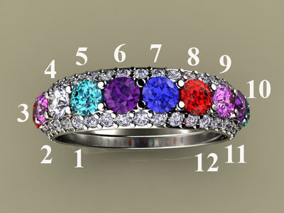 Twelve Birthstone Mothers Ring by Christopher Michael*