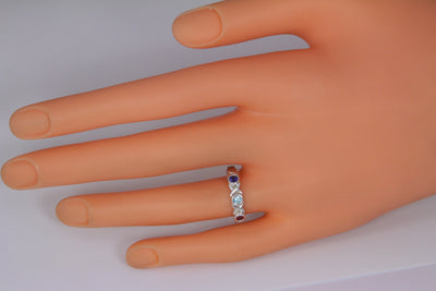 3 Stone Bezeled Hugs and Kisses Mothers Ring*