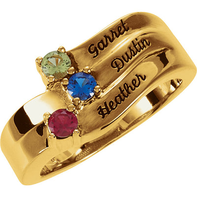 Personalized Engraved 3 Birthstone Mothers Ring*