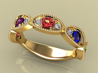 5 Birthstone Mothers Ring by Christopher Michael with Ideal Cut Diamonds