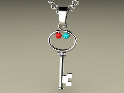 Key To My Heart Mother's Pendant with Two Birthstones*