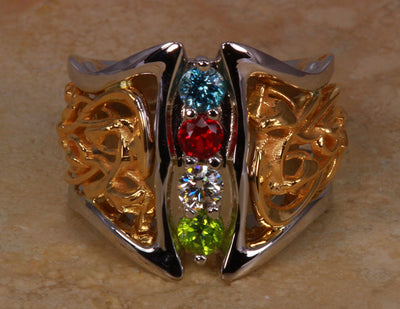 Art Nouveau Inspired 3 Birthstone Mothers Ring*