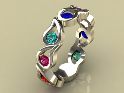 Unique Nine Birthstone Mothers Ring By Christopher Michael*
