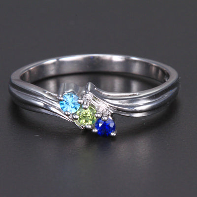 3 Birthstone Fluted Bypass Shank Mothers Ring* - MothersFamilyRings.com
