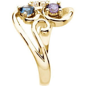 Flowing Four Stone Mothers Ring in 14kt Gold*