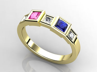 Christopher Michael Designed Two Princess Birthstone Mothers Ring*