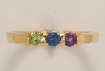 Three Birthstone Channel Set Mothers Ring*