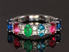 6 Stone Oval Birthstone Ring with Fine Diamonds Designed by Christopher Michael