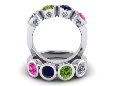 Christopher Michael Design with 4 Bezel Set Gemstones and Diamonds