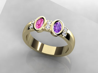 Striking Christopher Michael Two Stone Oval Mothers Ring with Diamonds*