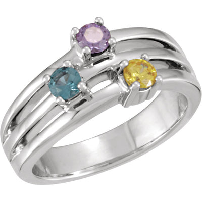 Modern 3 stone Mother's Ring with Larger Natural Gemstones*