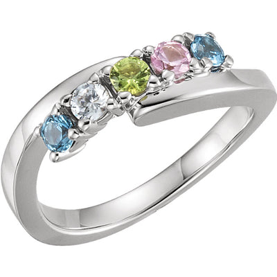 5 Stone Silver Bypass Mothers Ring*