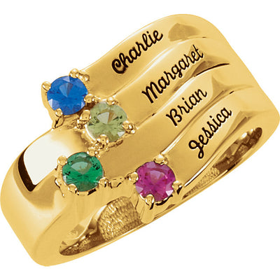 Personalized Engraved 4 Birthstone Mothers Ring*
