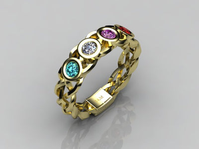 Custom Designed by Christopher Michael  Mothers Ring With Four Bezeled 3mm Birthstones*