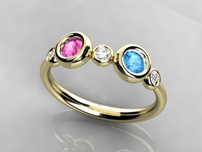 Bezeled Larger Round Two Birthstone Mothers Ring With Fine Diamonds*