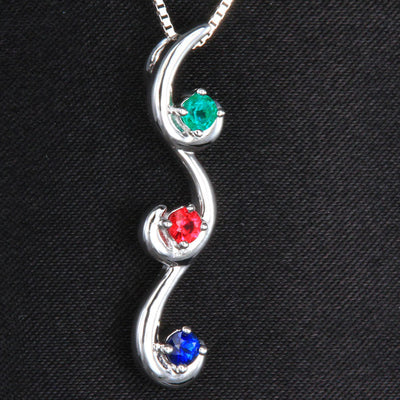 Flowing Drop Mother's Pendant with 3 Natural Birthstones*