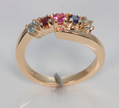 5 Stone Bypass Mothers Ring 3mm Birthstones*