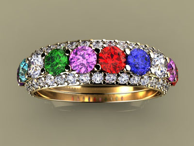 Ten Birthstone Mothers Ring by Christopher Michael*